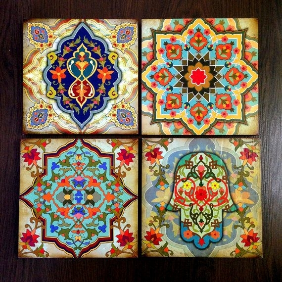 Hamsa Hand Moroccan Wall Art Set Wooden Blocks 8X8 Setajobebe With Regard To Moroccan Wall Art (View 10 of 25)