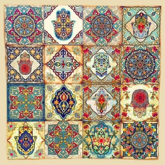 Hamsa Wall Art Set Old Moroccan Wall Art Moroccan Blocks Set Of 16 Throughout Moroccan Wall Art (Photo 8 of 25)