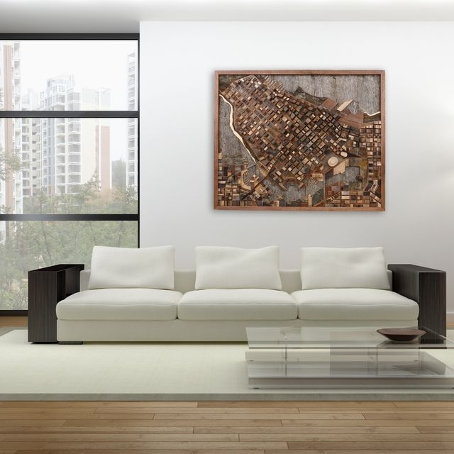 Hand Crafted Vancouver Cityscape Wood Wall Art, Made Of Old Pertaining To Personalized Wood Wall Art (Image 6 of 25)