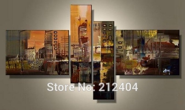 Hand Painted 4 Piece Wall Art Multi Panel Canvas Oil Painting Huge Within Multi Piece Wall Art (View 1 of 20)