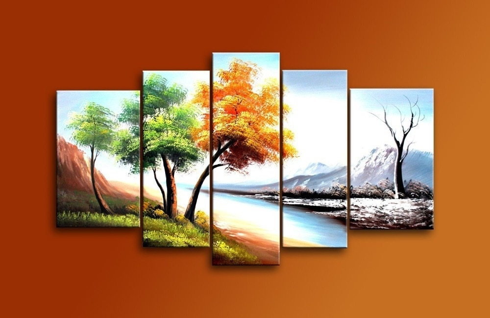 Hand Painted 5 Piece Modern Landscape Oil Paintings On Canvas Wall Intended For Wall Art Paintings (Image 15 of 25)