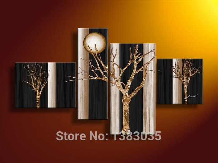 Hand Painted Abstract Trees Art Oil Paintings 4 Piece Canvas Wall Pertaining To Black And Gold Wall Art (Image 20 of 25)