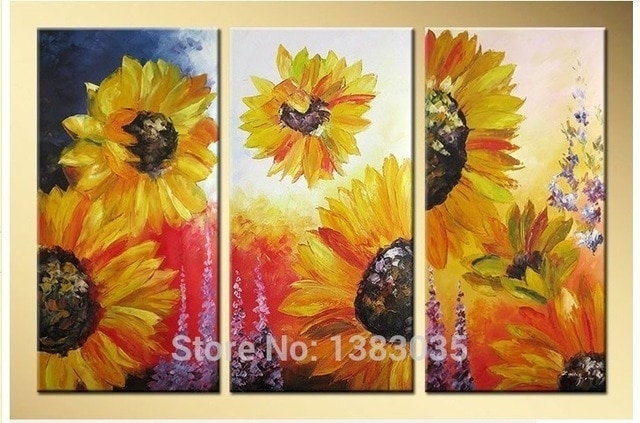 Hand Painted Abstract Yellow Sunflower Wall Art Oil Painting Living For Sunflower Wall Art (Image 5 of 25)