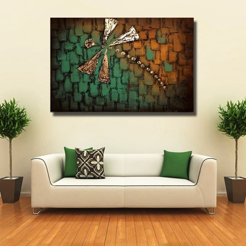 Hand Painted Acrylic Abstract Dragonfly Paintings Modern Home Decor In Dragonfly Painting Wall Art (View 21 of 25)