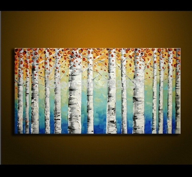 Hand Painted Birch Tree Wall Art Bedroom Living Room Decor Abstract For Birch Tree Wall Art (Image 16 of 25)