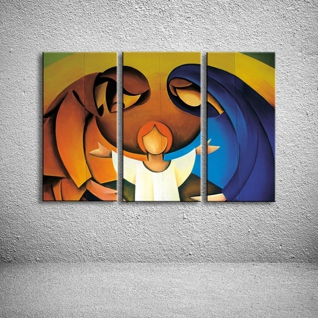 Hand Painted Child & Parents Family Oil Painting Modern Abstract For Modern Abstract Painting Wall Art (Image 12 of 25)