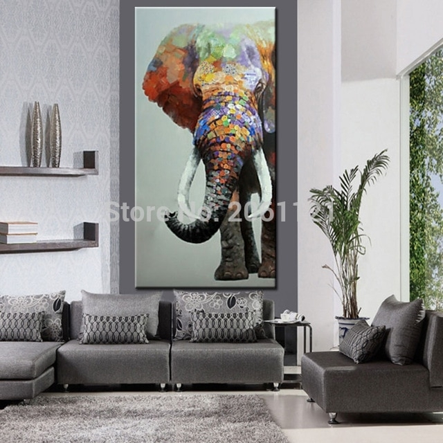 Hand Painted Large Big Elephant Wall Art Abstract Textured Vertical Within Elephant Wall Art (View 5 of 10)