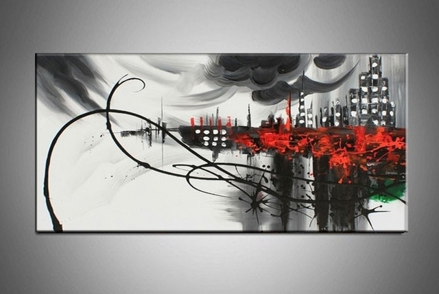 Hand Painted Large Canvas Wall Art Black White Abstract Oil Painting Regarding Black And White Large Canvas Wall Art (Image 15 of 25)