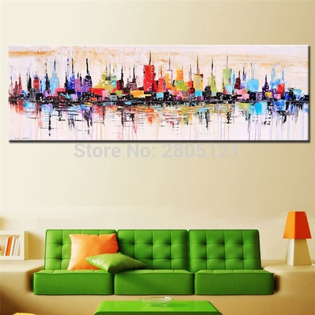 Hand Painted Modern Fashion Decorative Oil Painting Large Long In Long Canvas Wall Art (View 8 of 25)