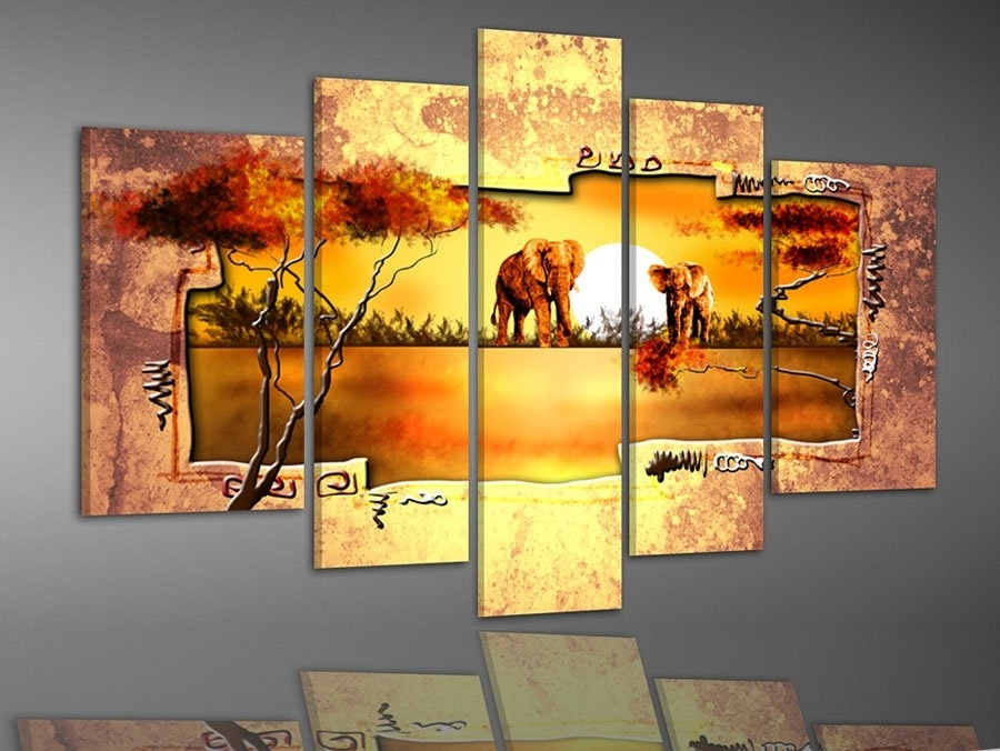 Hand Painted Multi Panel Canvas Wall Art Warm Elephant Forest Home Regarding Discount Wall Art (View 5 of 25)