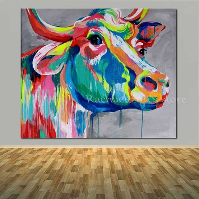 Hand Painted Pop Art Water Color Cow Oil Paintings On Canvas Modern Inside Popular Wall Art (Image 11 of 20)