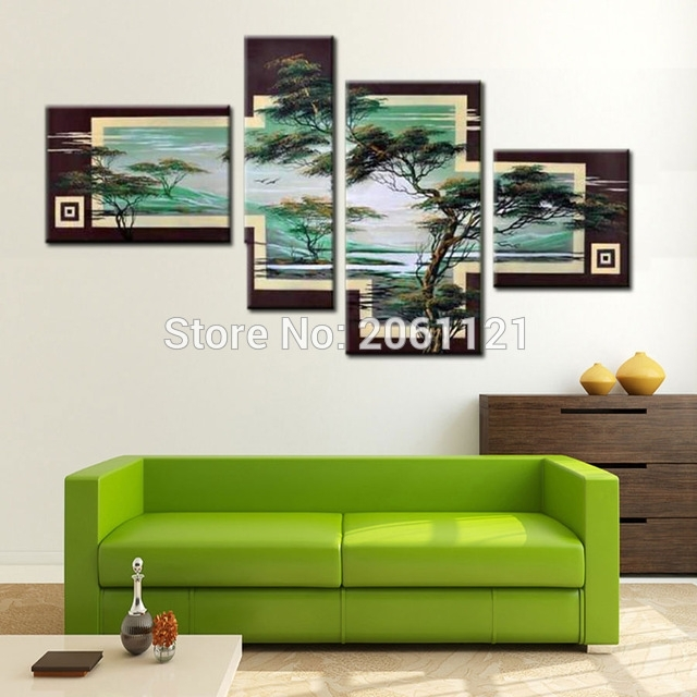 Hand Painted Tree Painting Green Landscape 4 Piece Canvas Wall Art Inside Canvas Wall Art Sets (Image 6 of 10)