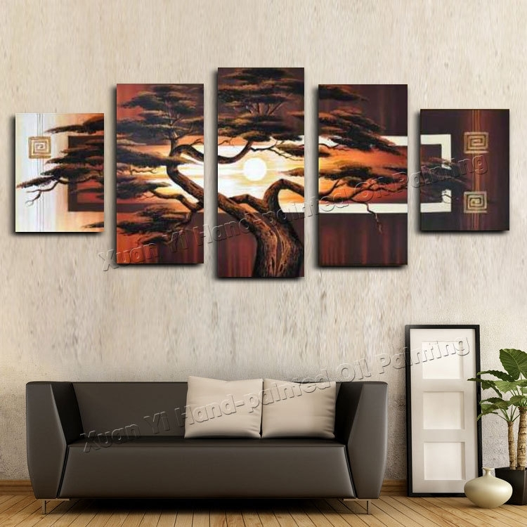 Hand Painted Wall Art Tree Sunshine Red Sun Mountain African Art Pertaining To African Wall Art (Image 9 of 10)