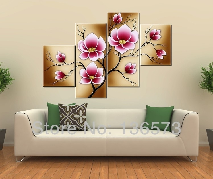 Handmade Bright Pink Flower Oil Painting Large Canvas Art Cheap With Large Canvas Painting Wall Art (View 7 of 25)