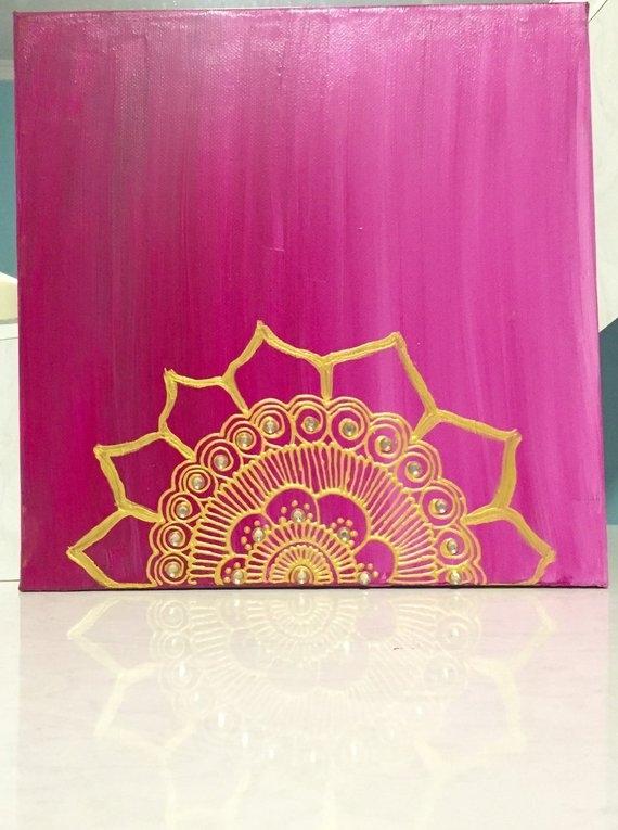 Handmade Henna Canvas Henna Art Henna Wall Art 11X11 | Etsy In Henna Wall Art (Image 12 of 25)