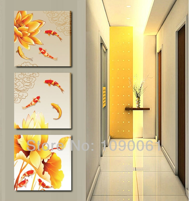 Handmade Modern Lotus Flower Oil Painting Koi Fish Canvas Art Pertaining To Fish Painting Wall Art (View 19 of 25)