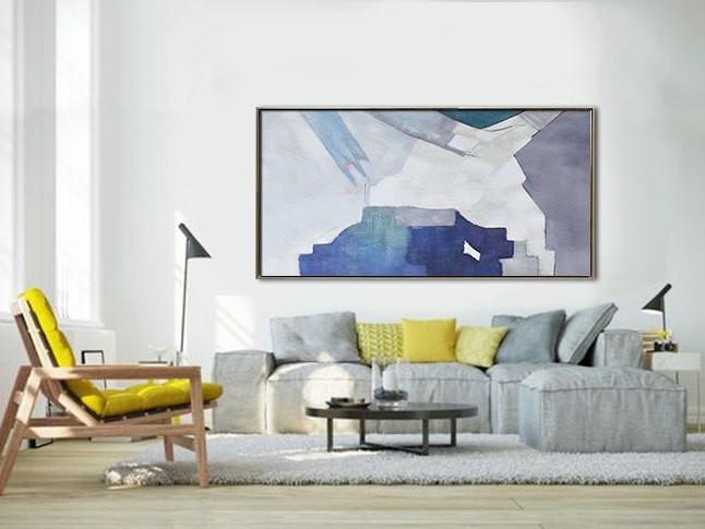 Handmade Original Horizontal Wall Art, Abstract Art Canvas Painting In Horizontal Wall Art (Image 3 of 25)