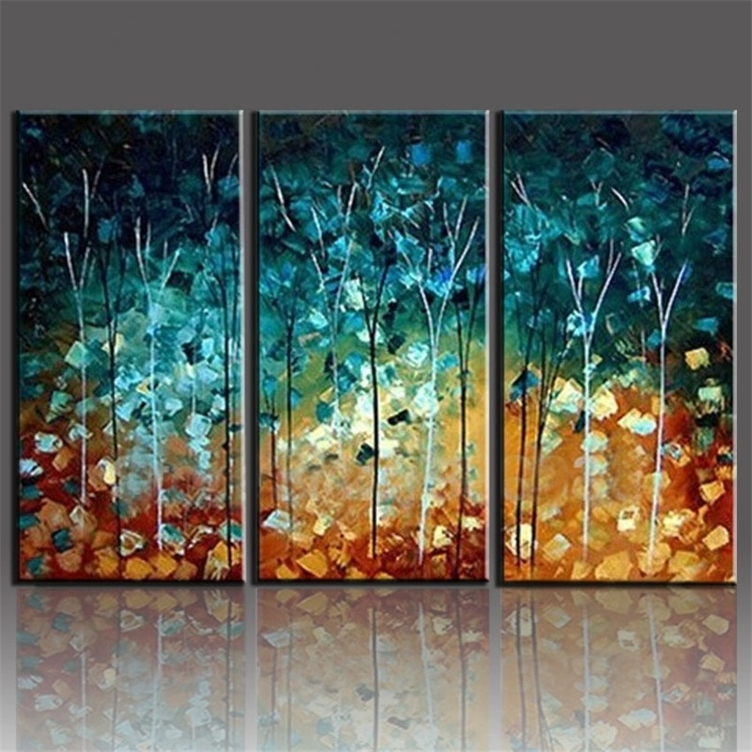 Handmade Painting Trees Large Frameless Paintings Oil Picture 3 With Regard To 3 Piece Canvas Wall Art (Image 13 of 20)