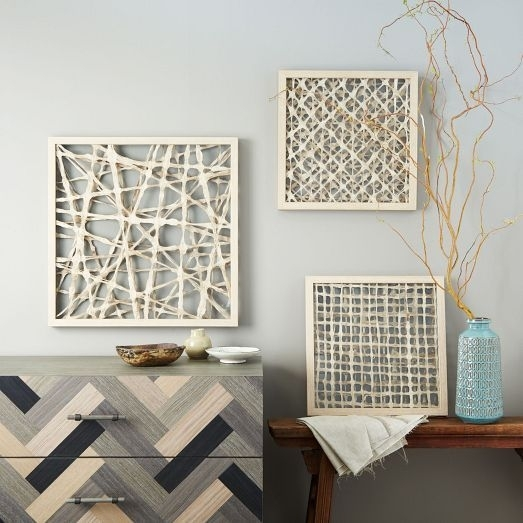 Handmade Paper Wall Art – Set Of 3 – Creative Giri Throughout Paper Wall Art (View 14 of 25)