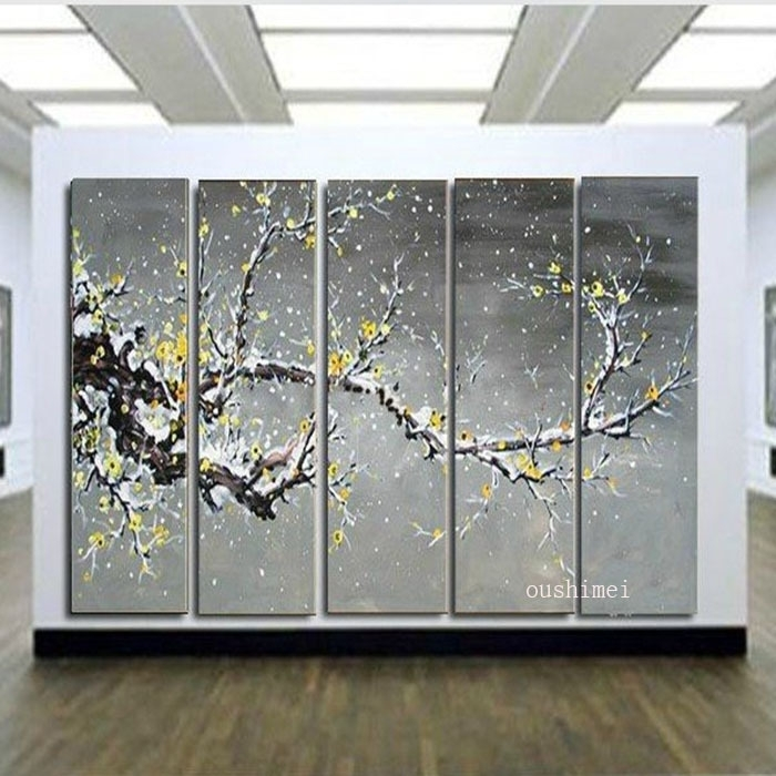 Handmade Wall Painting Grey Picture Plum Blossom Home Decor Canvas Within Grey Wall Art (View 24 of 25)