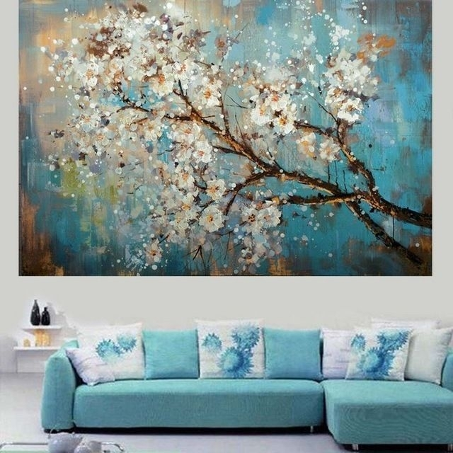 Handpainted Modern Abstract Flower Canvas Art Decoration Of Oil Inside Living Room Painting Wall Art (View 21 of 25)