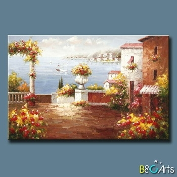 Handpainted Modern Tuscany Canvas Wall Art Garden Beautiful Inside Modern Painting Canvas Wall Art (View 23 of 25)