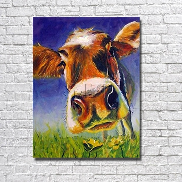 Handsome Cow Canvas Wall Art Oil Painting Decor Home Living Room Throughout Cow Canvas Wall Art (View 8 of 25)