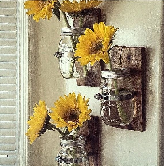 Hanging Wall Vase: Cottage Chic Mason Jar Hanging Wallpalletso Within Sunflower Wall Art (View 7 of 25)