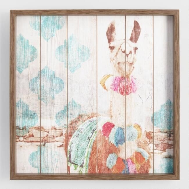 Happy Llama Framed Print On Wood Wall Artworld Market Intended For World Market Wall Art (Image 10 of 25)