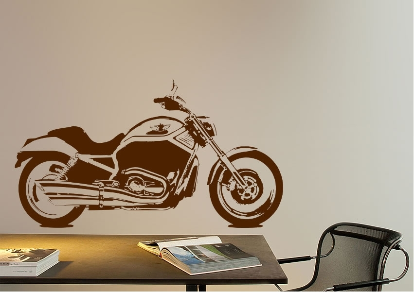 Harley Davidson Bike Transport Wall Stickers Adhesive Wall Sticker In Harley Davidson Wall Art (View 19 of 25)