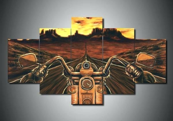 Harley Davidson Canvas 3 Styles 5 Piece Wall Art With Regard To Harley Davidson Wall Art (View 14 of 25)
