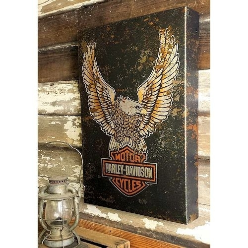 Harley Davidson Eagle Logo Metal Box Art | A Simpler Time With Harley Davidson Wall Art (View 24 of 25)