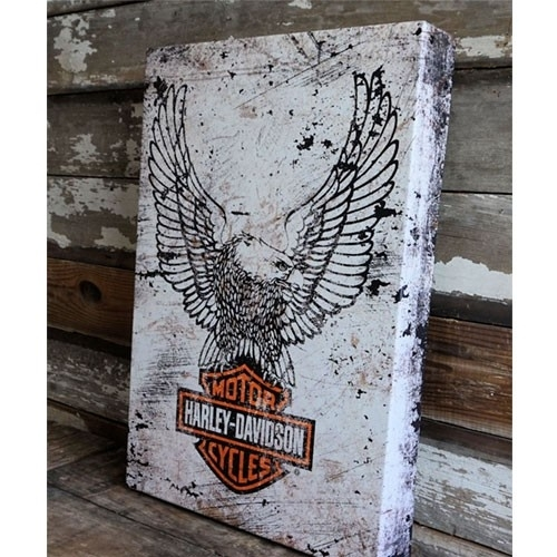 Harley Davidson Eagle Logo On Metal Box Art | A Simpler Time In Harley Davidson Wall Art (View 9 of 25)
