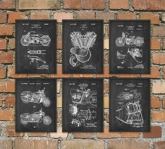 Harley Davidson Motorcycle Patent Print Set Of 6 – Classic With Regard To Harley Davidson Wall Art (Image 10 of 25)