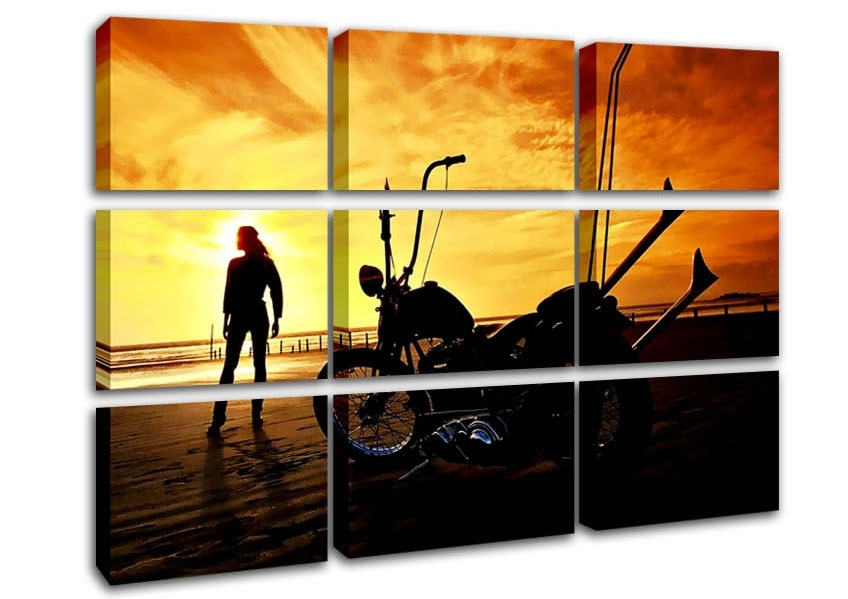 Harley Davidson Sunset Modern 9 Panel Canvas 9 Panel Set Canvas Regarding Harley Davidson Wall Art (Image 11 of 25)