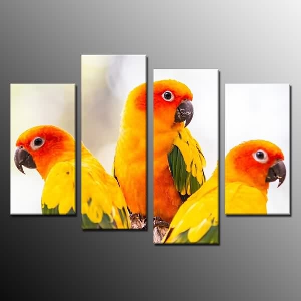 Hd Modern Wall Art Home Decor Birds Parrots Canvas Painting Print With Bird Framed Canvas Wall Art (Image 17 of 25)