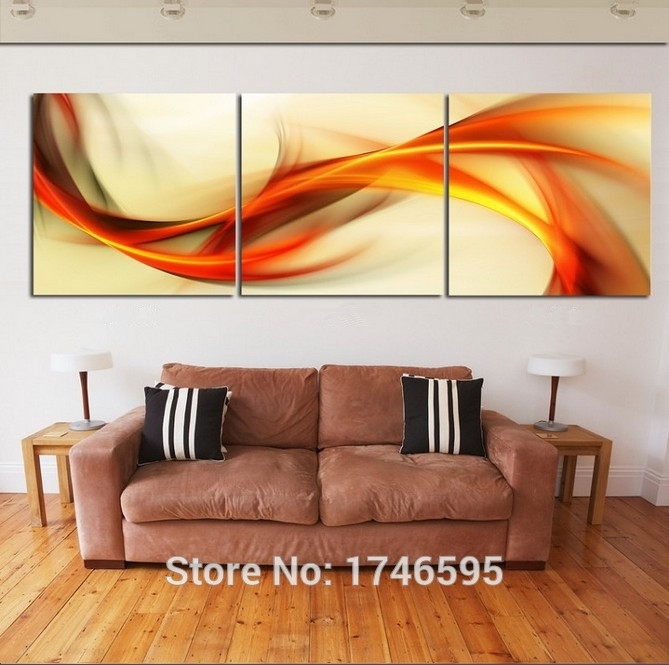 Hd Print 3 Pieces Canvas Abstract Orange Wall Art Picture Print Pertaining To Orange Wall Art (Image 11 of 25)