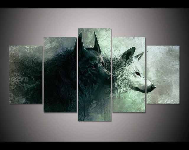 Hd Print 5 Pieces Canvas Wall Art Print Wolf Painting Canvas Modern Throughout 5 Piece Canvas Wall Art (View 2 of 25)
