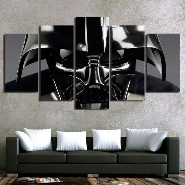Hd Print 5Pcs Star Wars Movie Darth Vader Canvas Wall Art Painting For Darth Vader Wall Art (View 19 of 25)