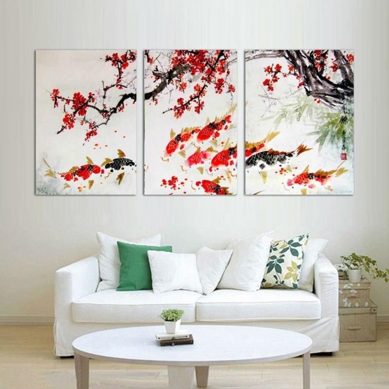Hd Print Cherry Blossom Koi Fish Painting Canvas Wall Art Prictue In Fish Painting Wall Art (View 7 of 25)