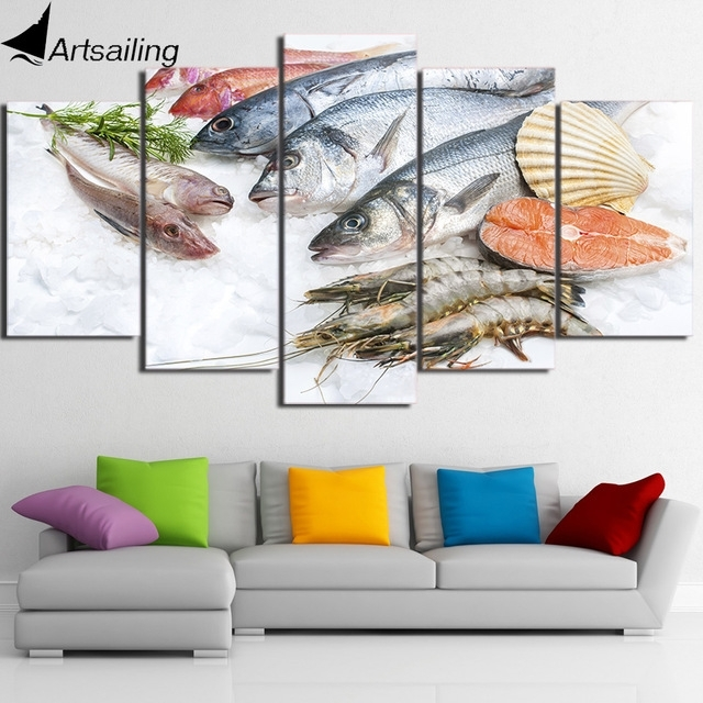 Hd Printed 5 Piece Canvas Art Fresh Seafood Modern Large Canvas Wall With Regard To Modern Large Canvas Wall Art (Image 14 of 25)