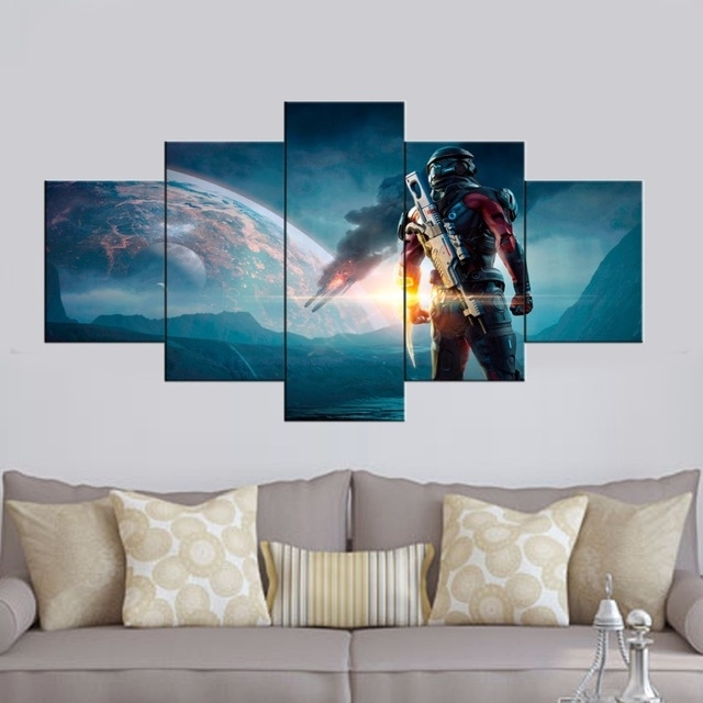 Hd Printed 5 Piece Canvas Art Mass Effect Andromeda Game Picture Inside 5 Piece Wall Art (Image 17 of 25)