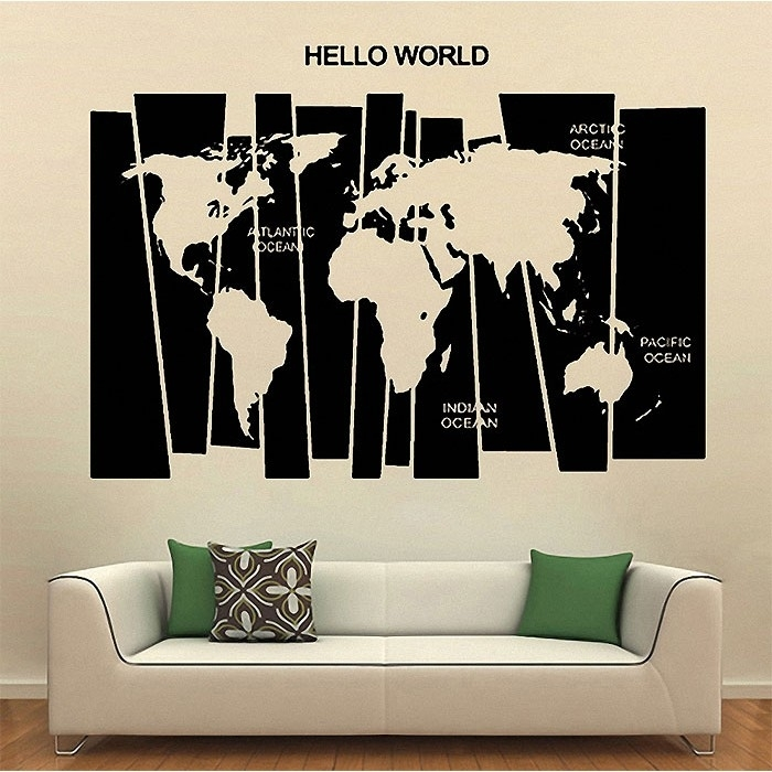Hello World Map Vinyl Wall Art Decal Inside Vinyl Wall Art World Map (Image 12 of 25)