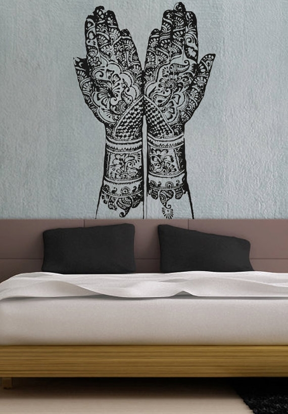 Henna Hands Vinyl Wall Decal Sticker Art A865 | Hippie House Envy In Henna Wall Art (Image 15 of 25)