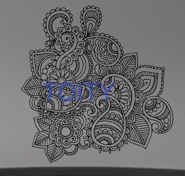 Henna Mehndi Wall Sticker Flower Paisley Doodle Vinyl Decal Home Within Henna Wall Art (Image 17 of 25)