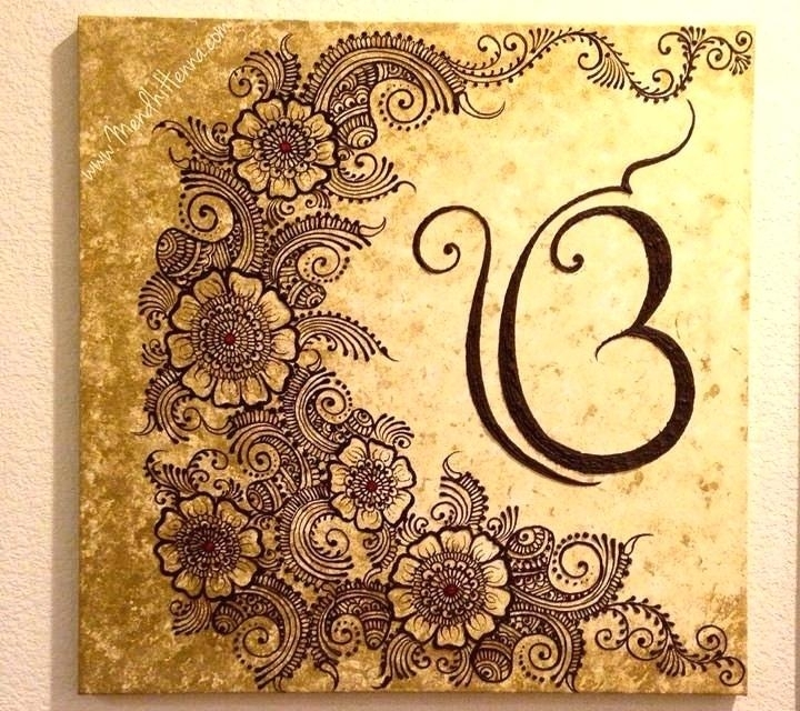 Henna On Canvas Henna Wall Art Henna Henna Canvas Morocco Art Wall Regarding Henna Wall Art (Image 18 of 25)