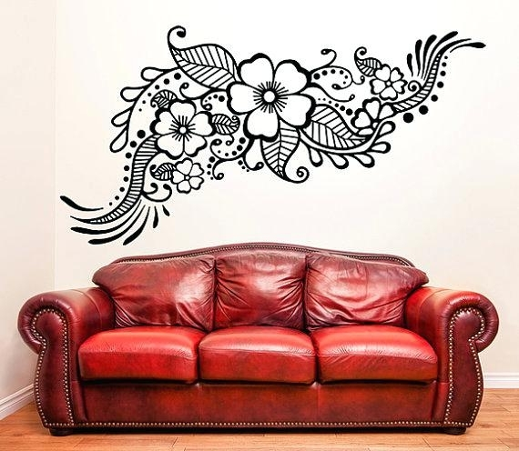 Henna Stencil Decal Oriental Wall Decor Art Stickers – Teamdeftones Intended For Henna Wall Art (Image 20 of 25)