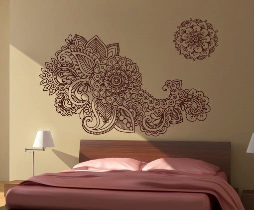Henna Stencil Decal Oriental Wall Decor · Moonwallstickers Regarding Henna Wall Art (Image 19 of 25)