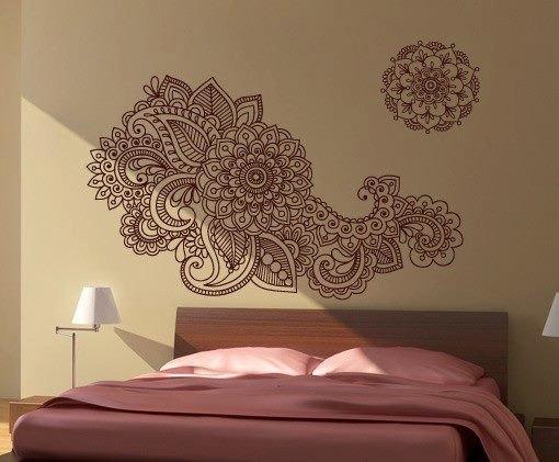 Henna Stencil Decal Oriental Wall Decor · Moonwallstickers Regarding Henna Wall Art (Image 19 of 25)