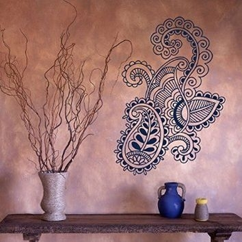 Henna Wall Art Wall Decal Vinyl Sticker Art Mehndi Henna From Amazon Intended For Henna Wall Art (Image 23 of 25)